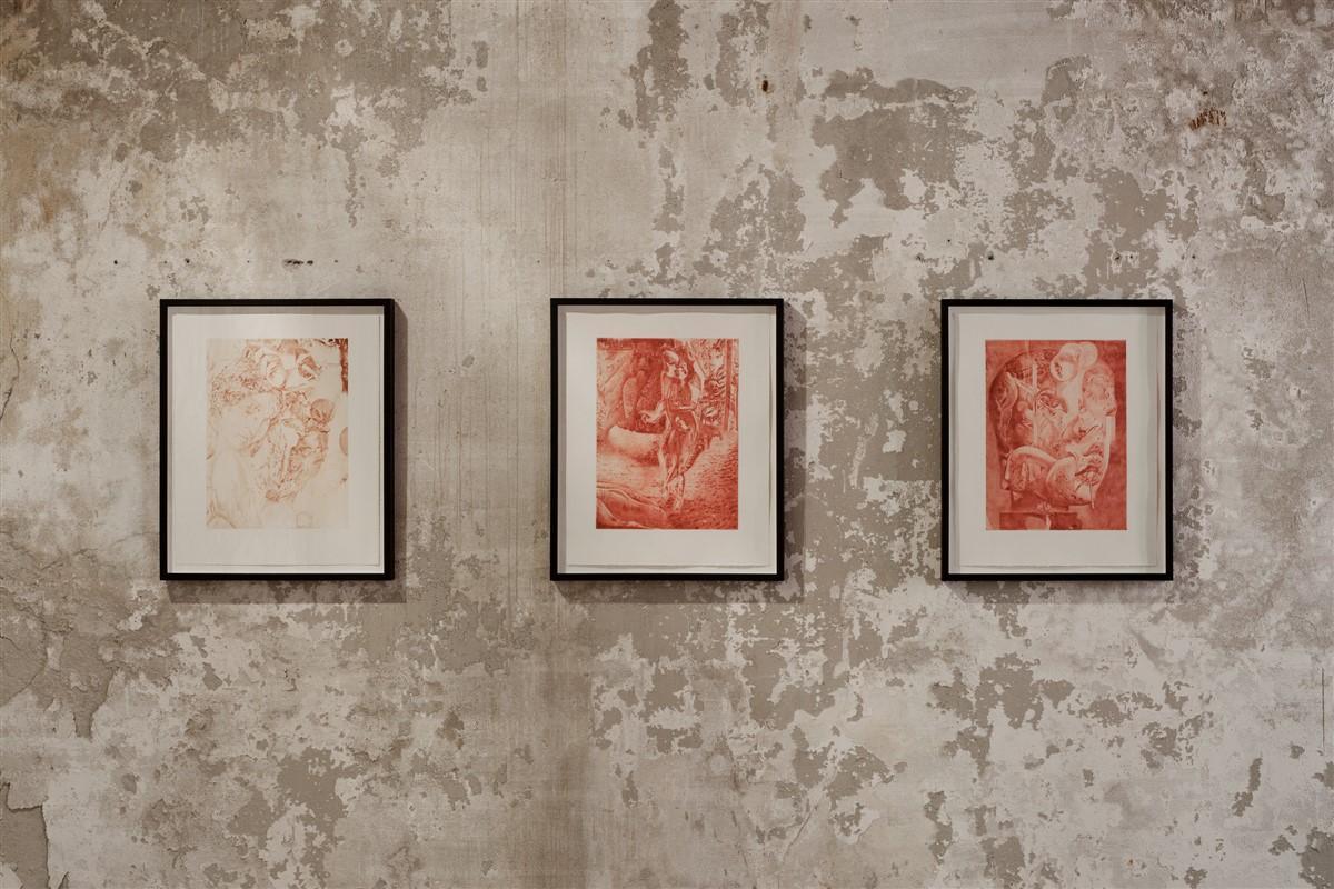 027. Dennis Scholl - Die Elter - Die Fixierung - Kusse und Bisse 2014 Diamond-drypoint etching paper 52x42cm - courtesy AplusB Brescia