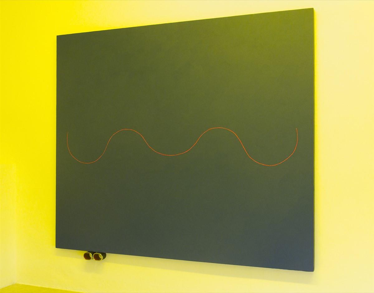 4 Davide Mancini Zanchi - Skyline - acrylic on canvas, carbon look - metal - Exhibition View