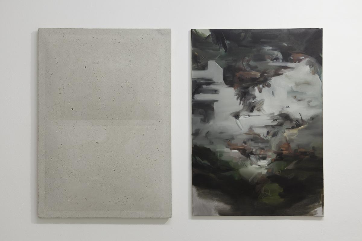 03. Marco La Rosa, cemento, 100x70cm - Nazzarena Poli Maramotti, senza titolo, olio su tela, 700x70cm