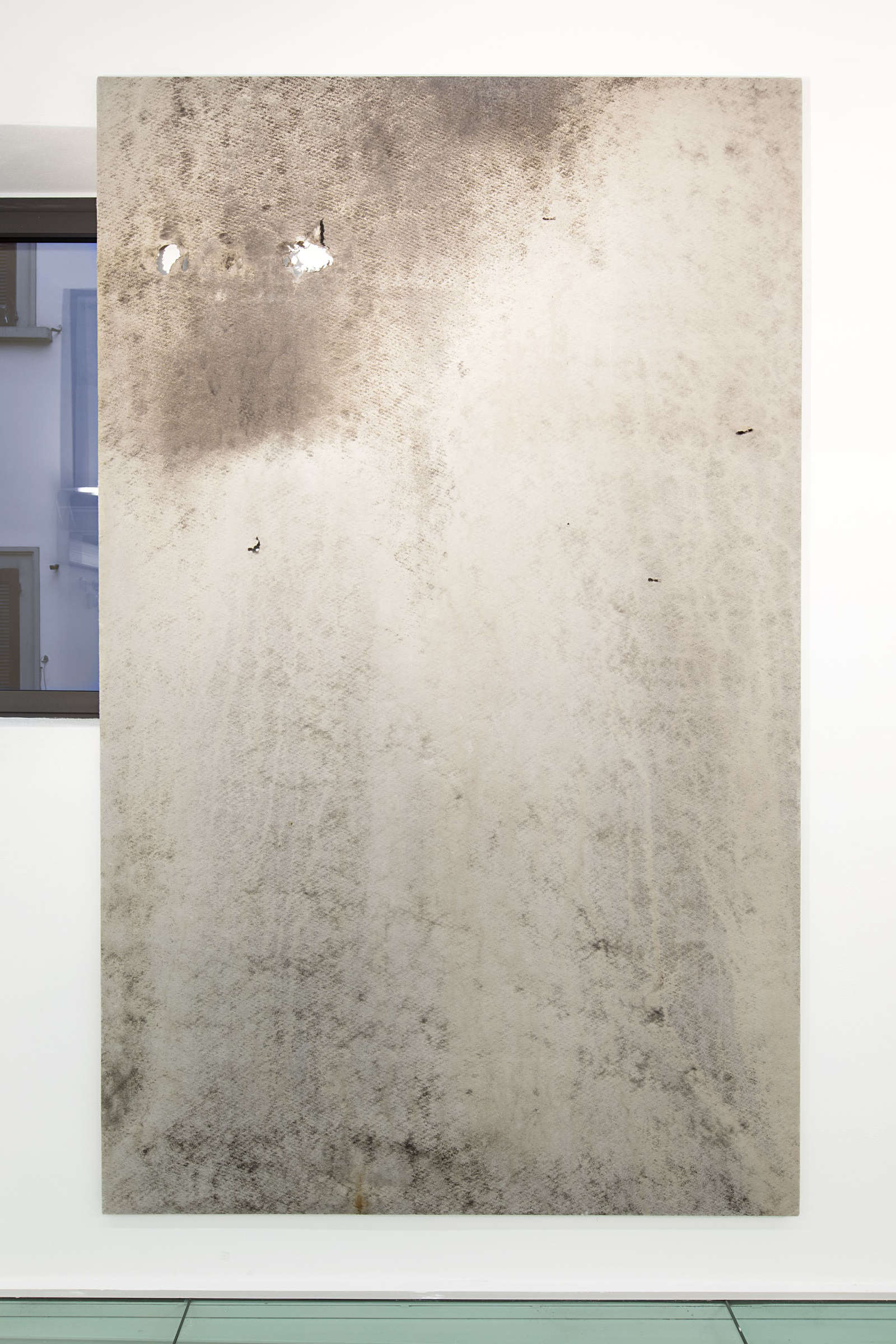25_Tiziano Martini, 2015, untitled, soil, dirt, rust, plant debris and vinilic on non-woven fabric mounted on wooden stretcher bars, installation view, photo Andrea Rossetti
