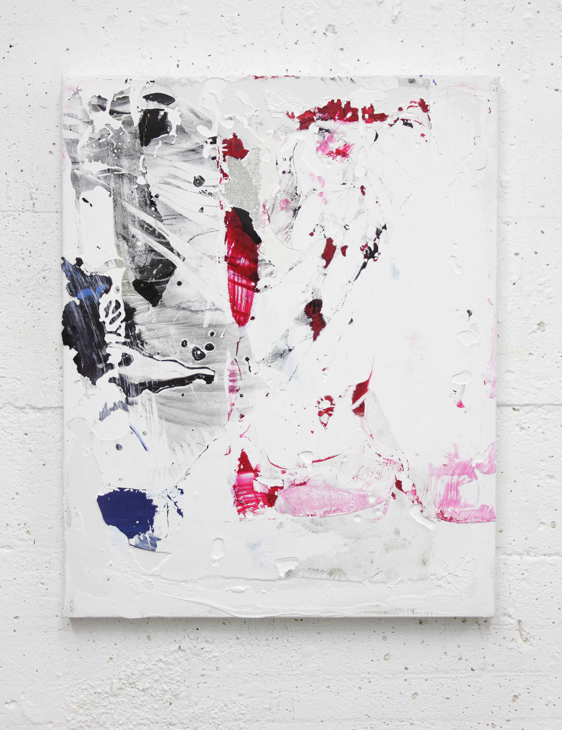 35_untitled, 2015, acrylic paint and monothype process on primer on cotton, cm 50x40