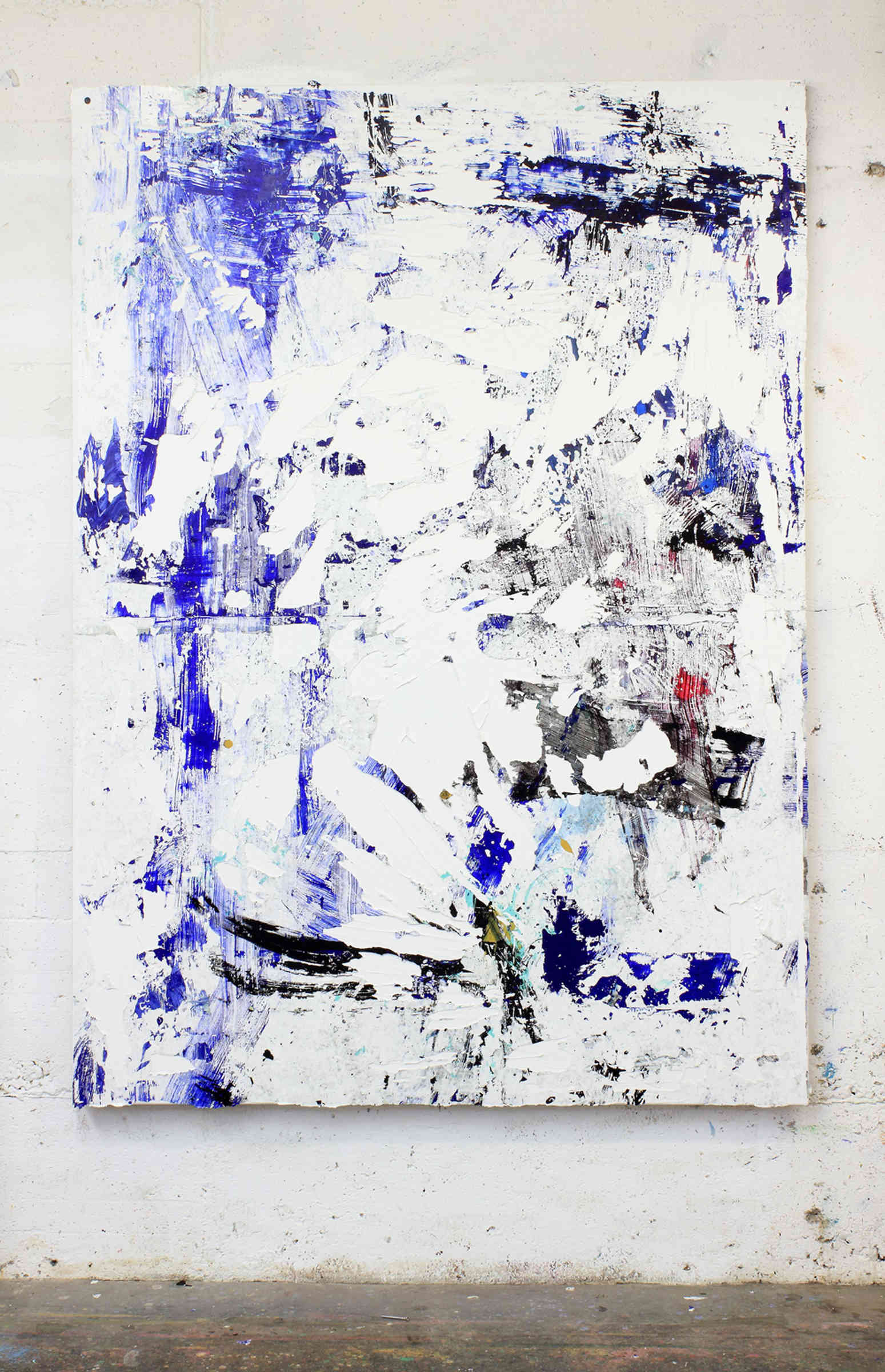 38_untitled, 2015, acrylic, acrylic sediments, binder, dirt and monothype process on primer on cotton, cm 210x150, white artist frame