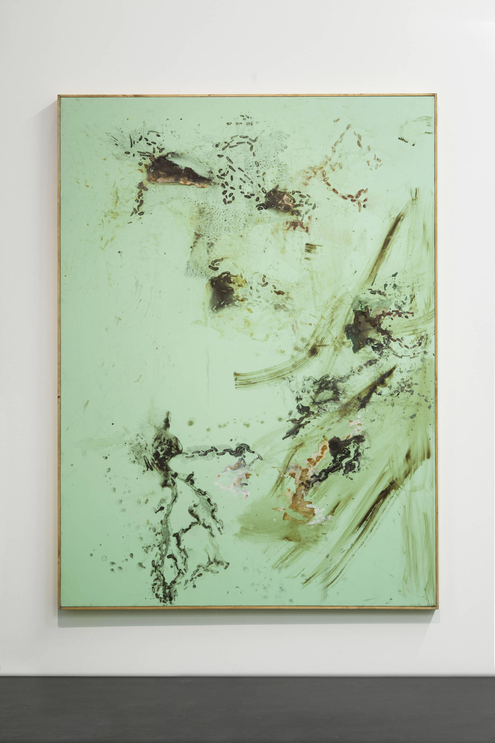3_Tiziano Martini, Untitled, 2014, acrylic and oil paint, acrylic enamel, rust, dirt and sediments on cotton, wooden frame, cm 192x152, Courtesy OTTO ZOO, foto Andrea Rossetti