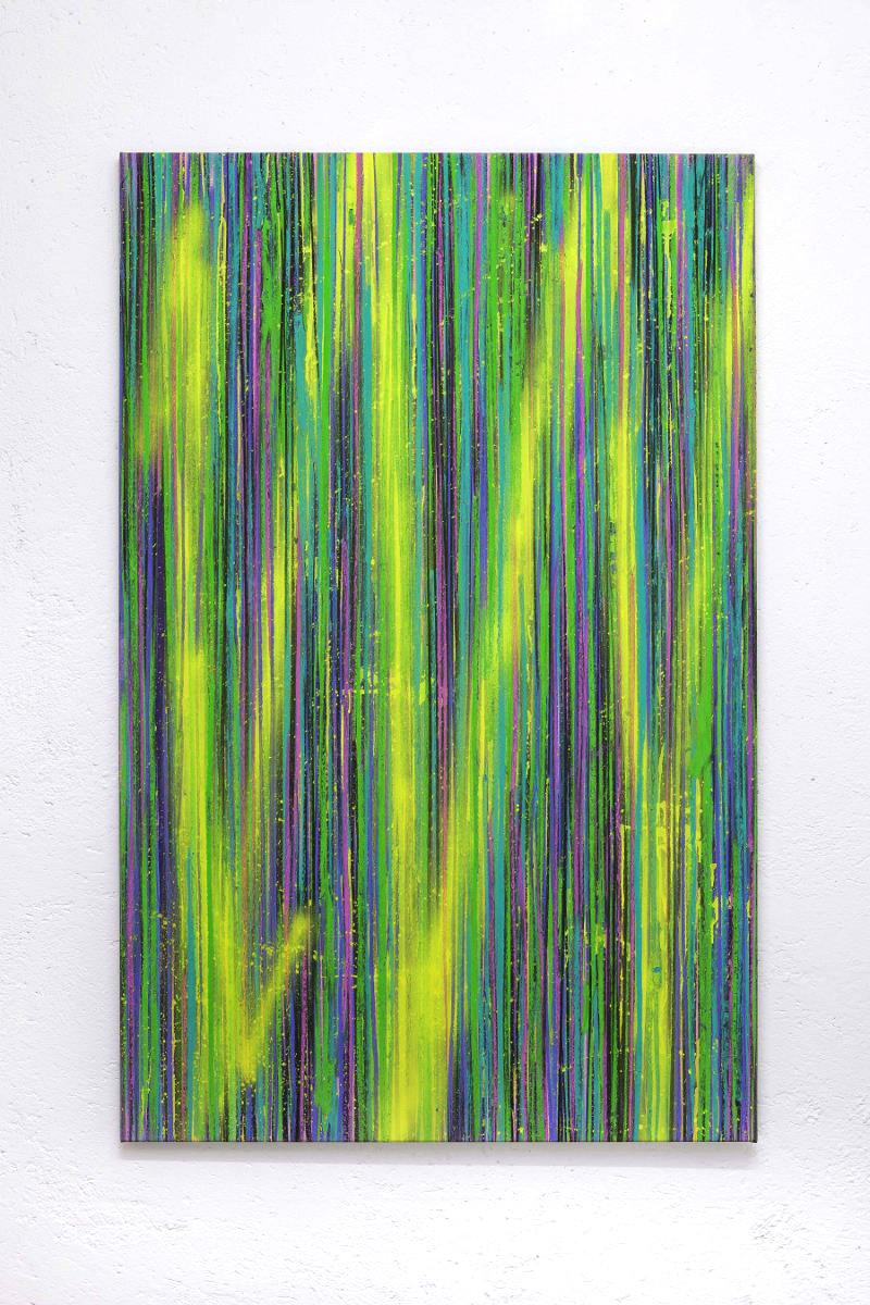 Luca Macauda, untitled, pastello morbido e acrilico spry su tela, 140x100cm, 2016