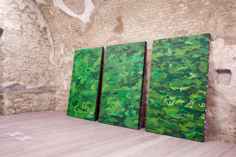 davide mancini zanchi - 2017 - acrilico e olio su tela serigrafiata a mimetica - ciasc 200x125