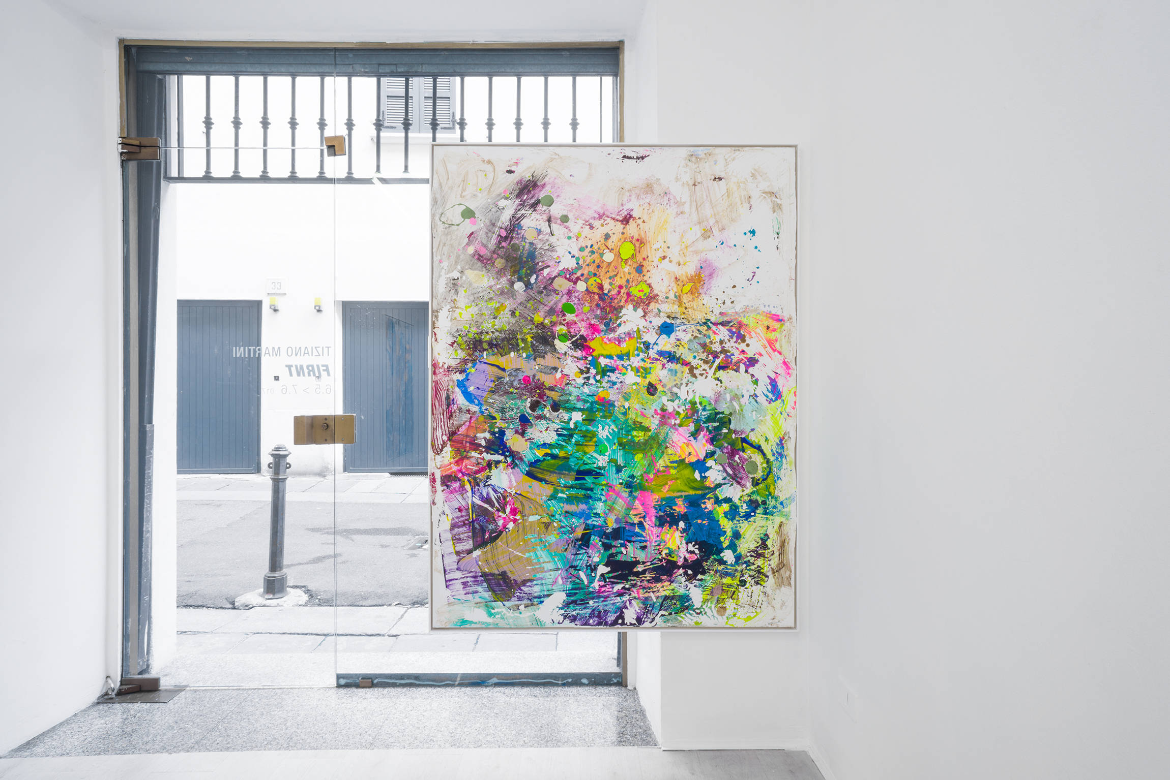 10. TM, Polenta e osei 2017, monotipia e sedimenti acrilici impressi su acrilico bianco, cornice artista, 162x122cm