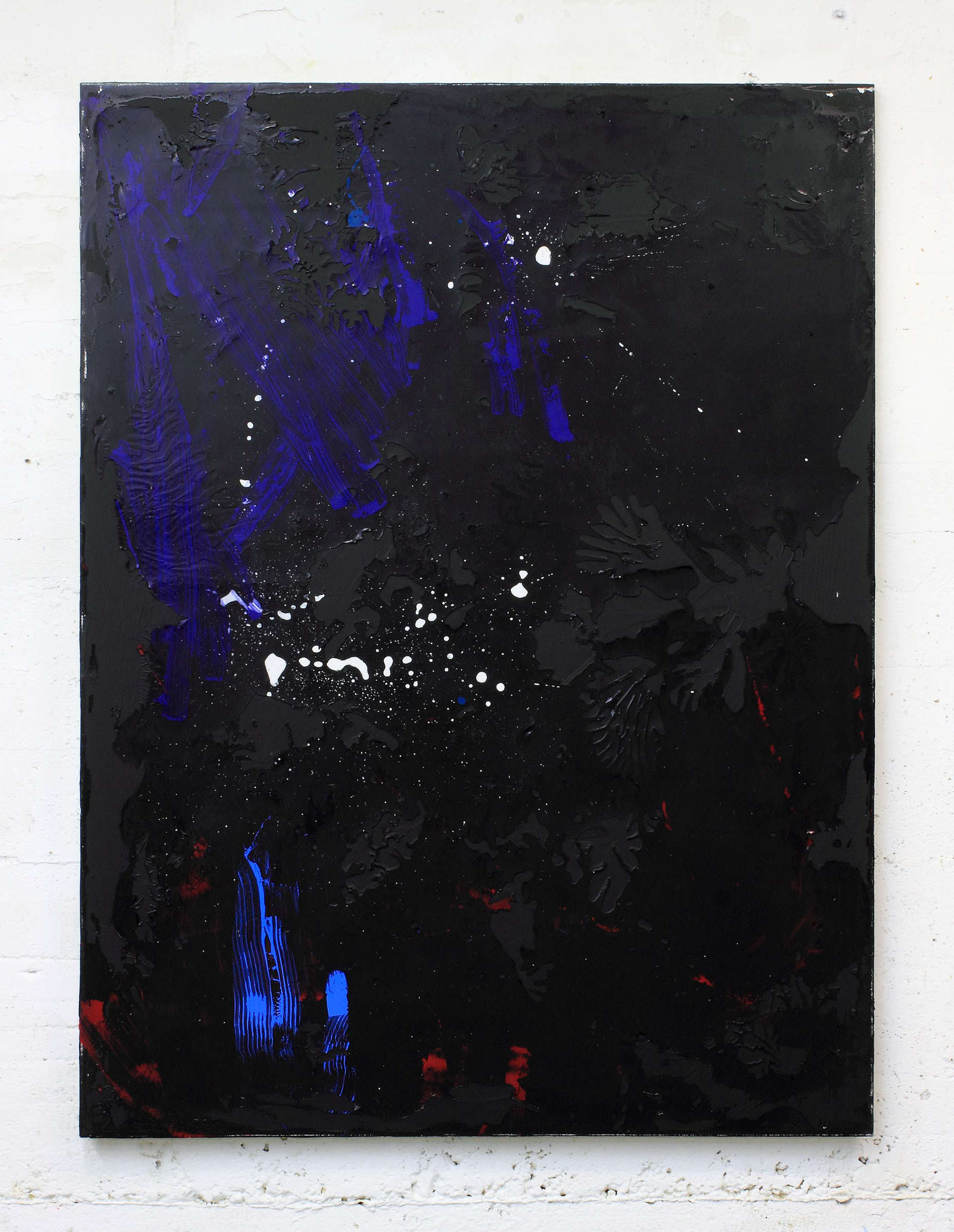 21_tiziano martini, 2015, untitled, acrylics, dirt and monothype process on black acrylic paint on primer on cotton, cm 160x120, courtesy the artist