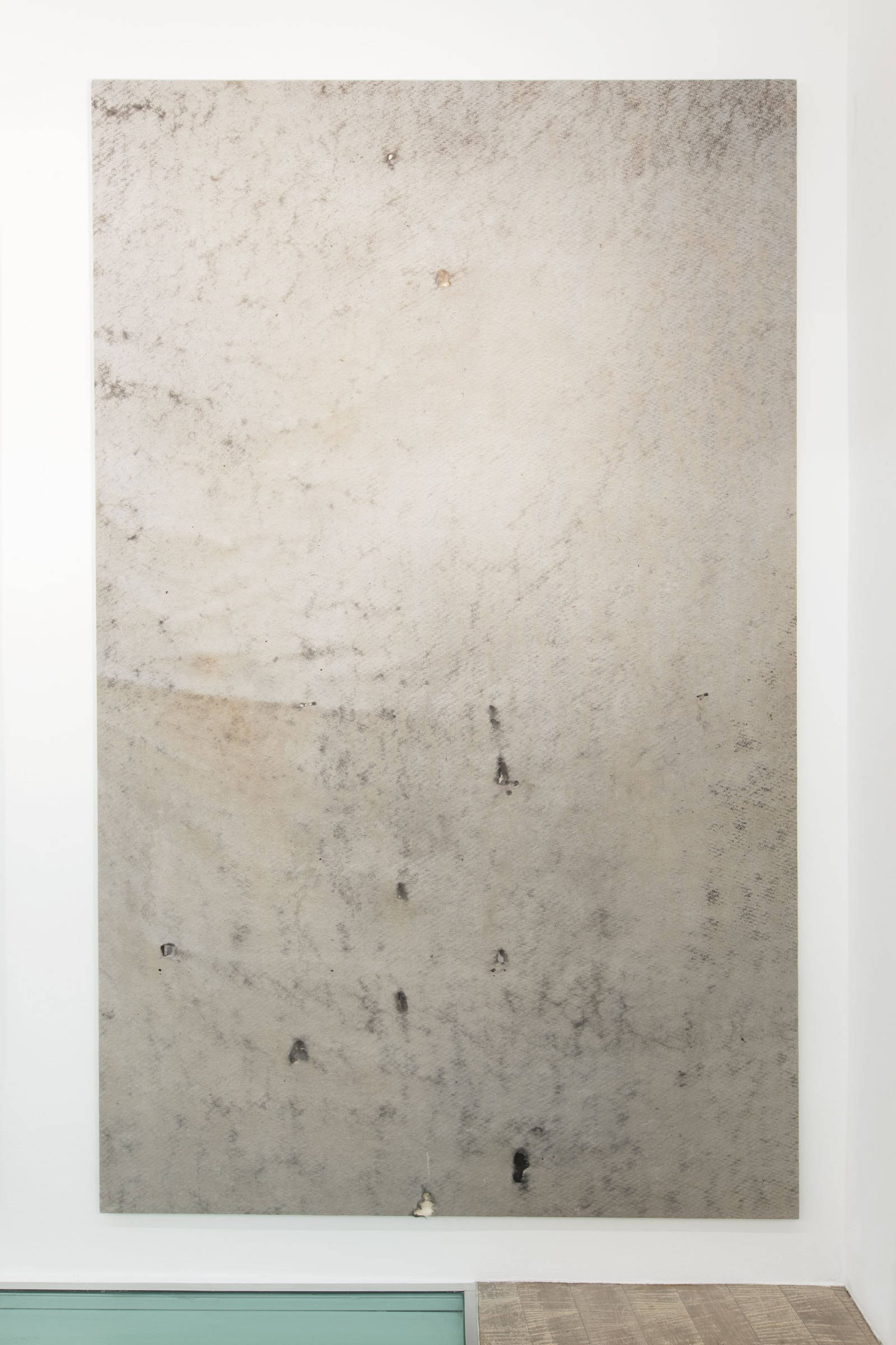 24_Tiziano Martini, 2015, untitled, soil, dirt, rust, plant debris and vinilic on non-woven fabric mounted on wooden stretcher bars, installation view,  photo Andrea Rossetti