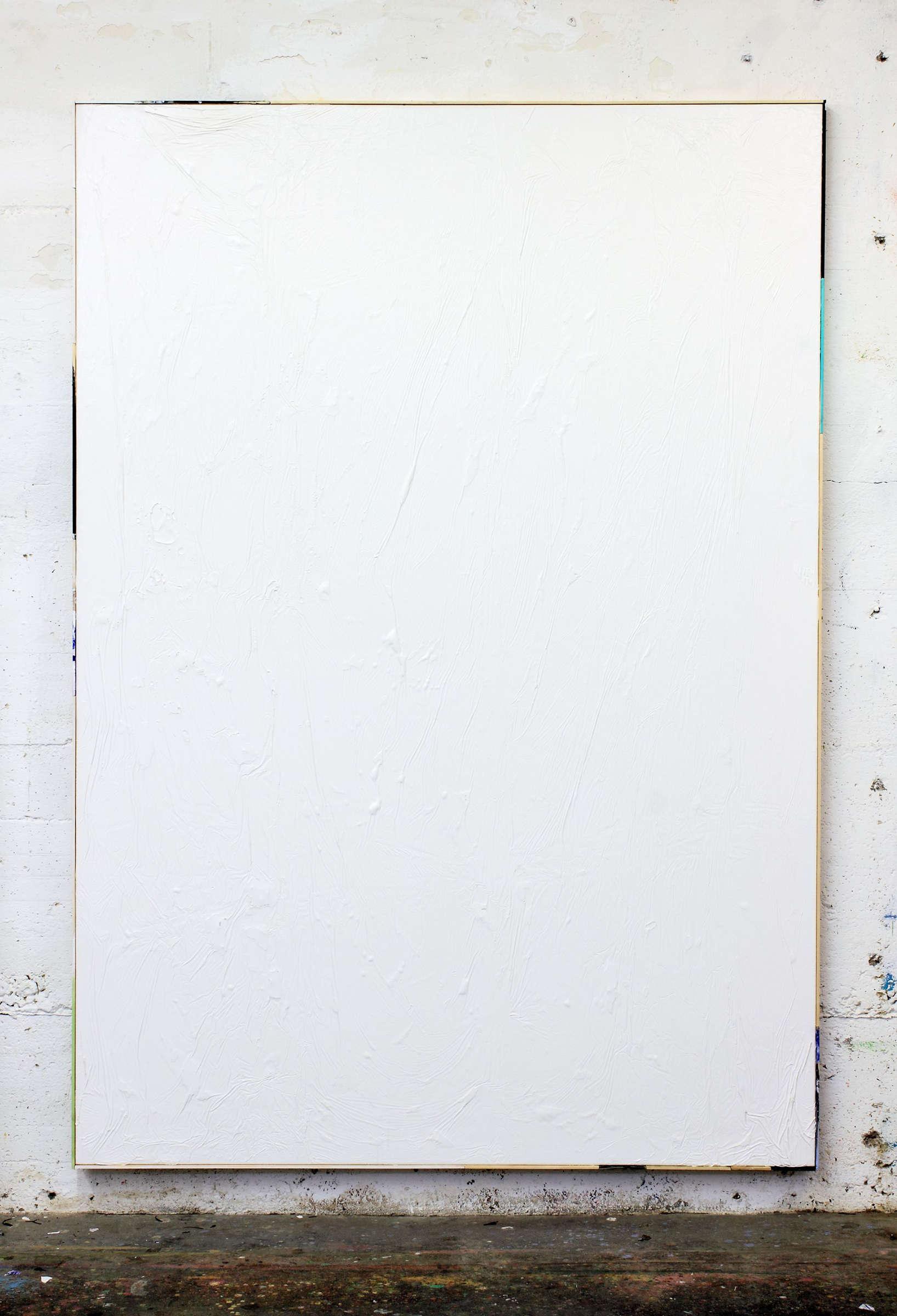 26_tiziano martini, 2015, untitled, white acrylic on canvas, artist frame, cm 201x141, studioView Duesseldorf