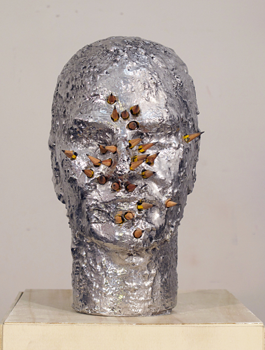 6. Davide Mancini Zanchi, Ritratto con matite, alluminio, matite, 40x20x20cm, 2012