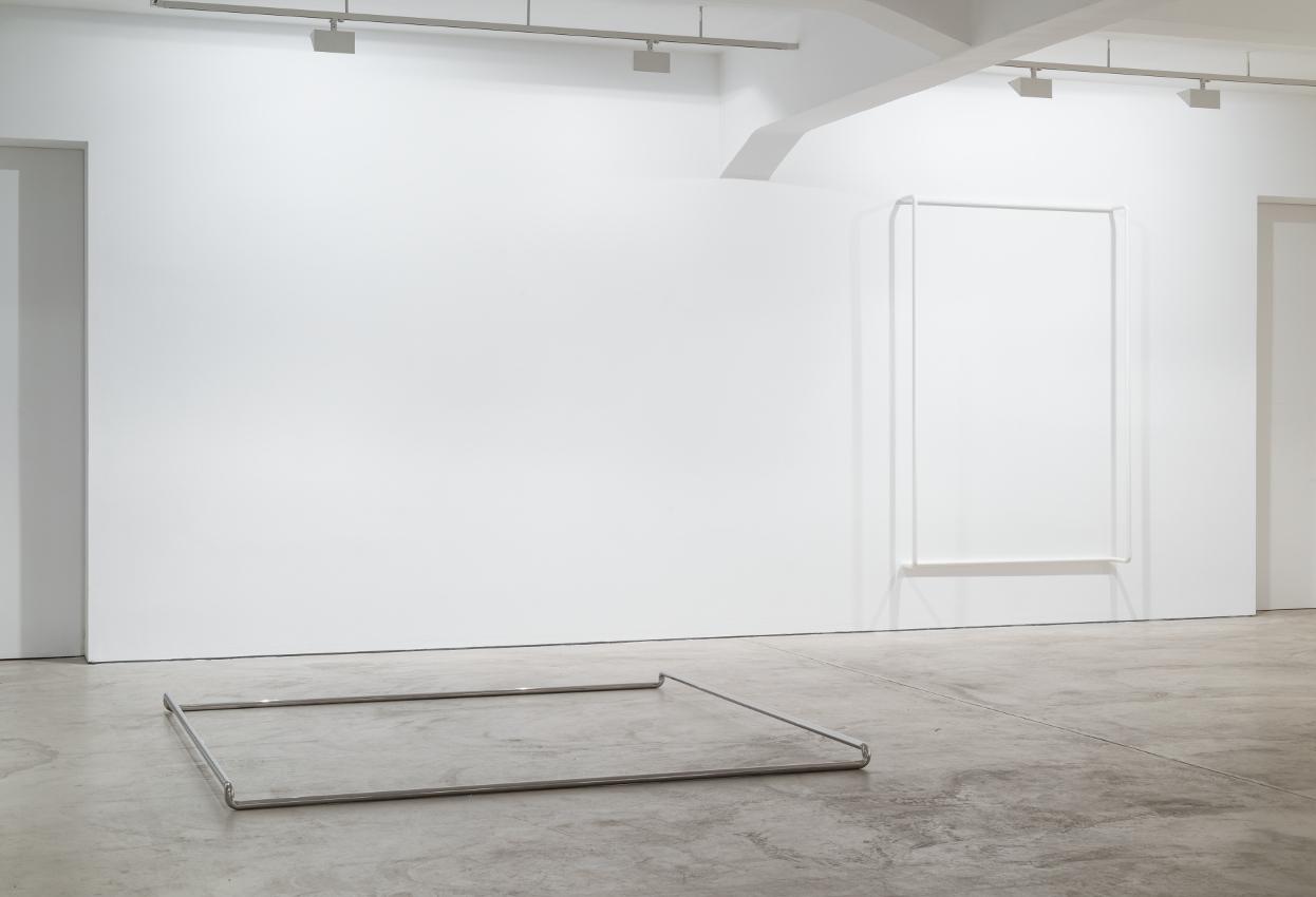 exhibition view at galerie crone, berlin. HUG US, 2016, 10x250x250cm; MILKY, 2016, 240x160x40cm