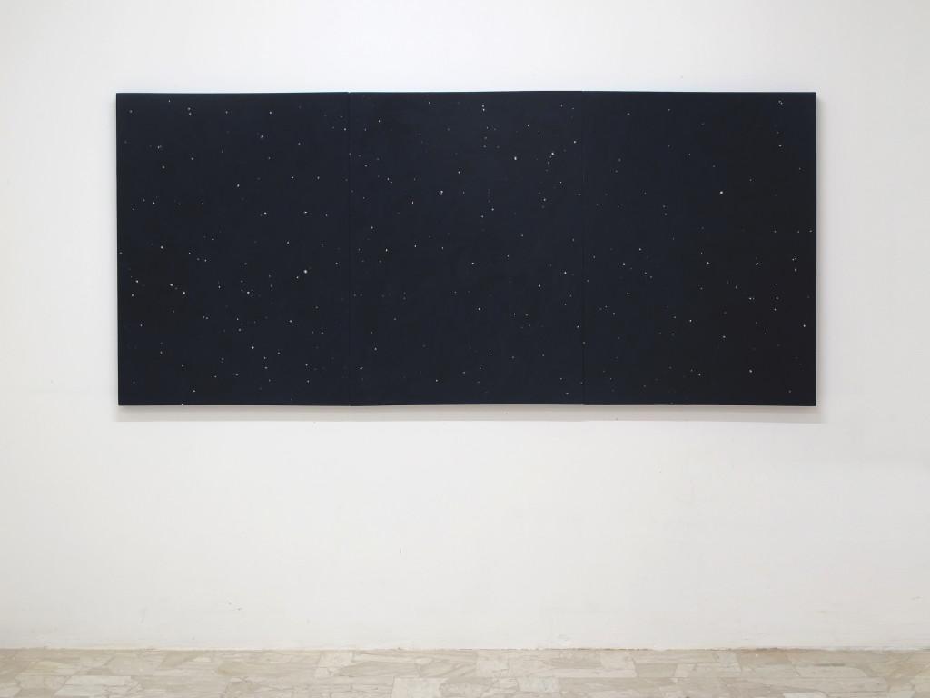 Davide Mancini Zanchi, 10 Agosto, acrylic and paper on canvas, 375x125cm, 2015