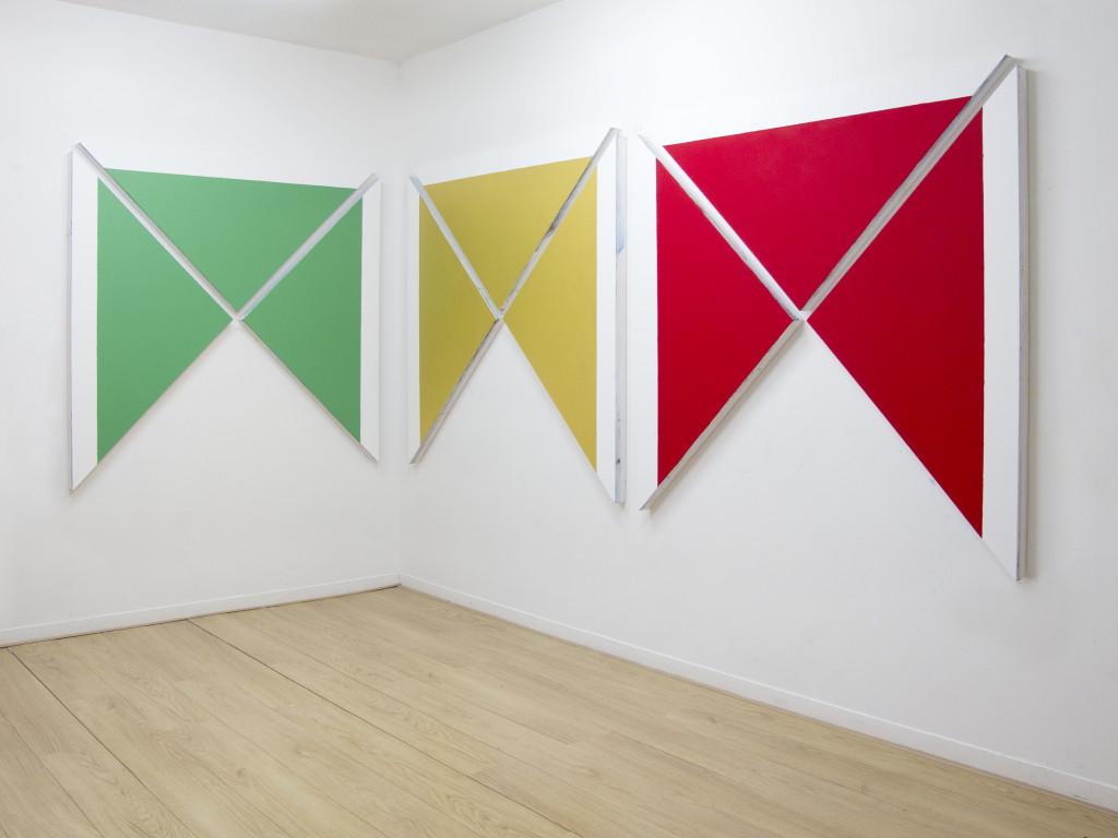 Davide Mancini Zanchi, 3 volte 3 volte 3, 2015, Acrylic on canvas, 150x150cm each