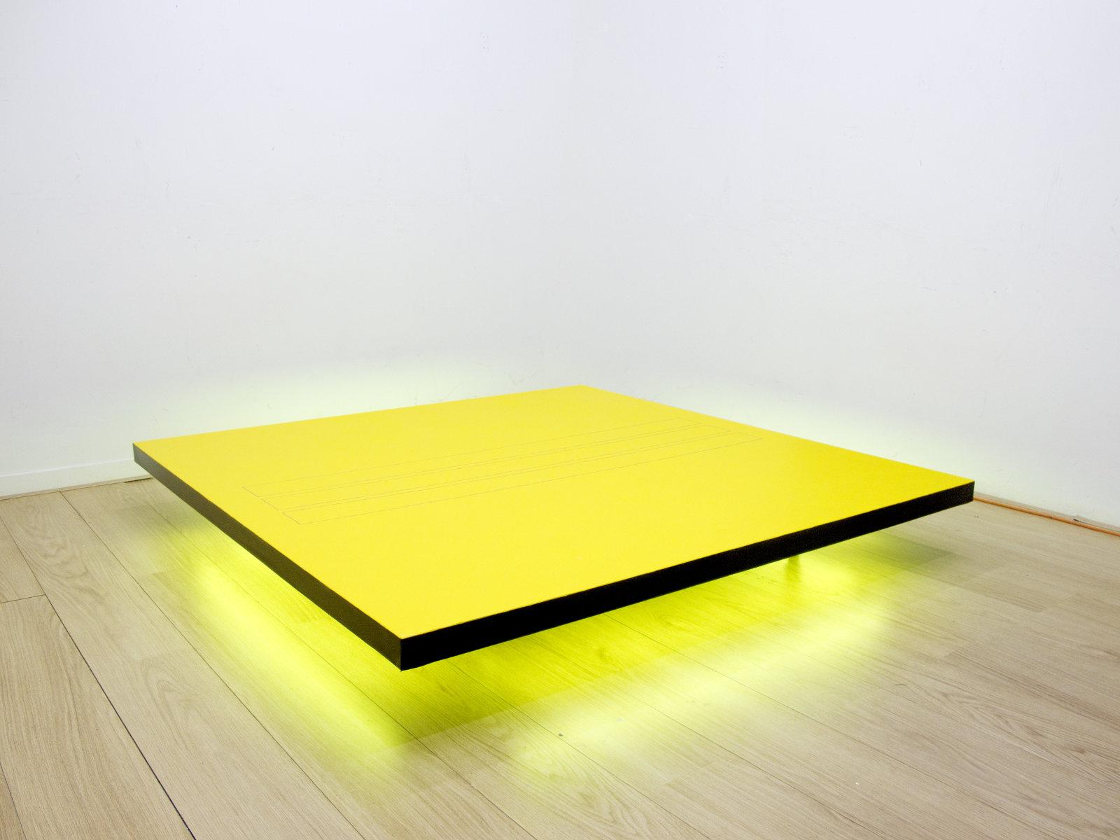 Davide Mancini Zanchi, Set per l'esecuzione della pala di montefeltro, acrilico su tela, neon, ruote industriali, 170x160cm, 2014