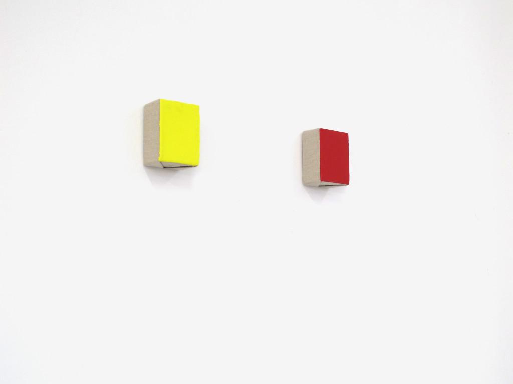 Davide Mancini Zanchi, giallo&rosso, oil on canvas, 10x22x6cm each, 2016