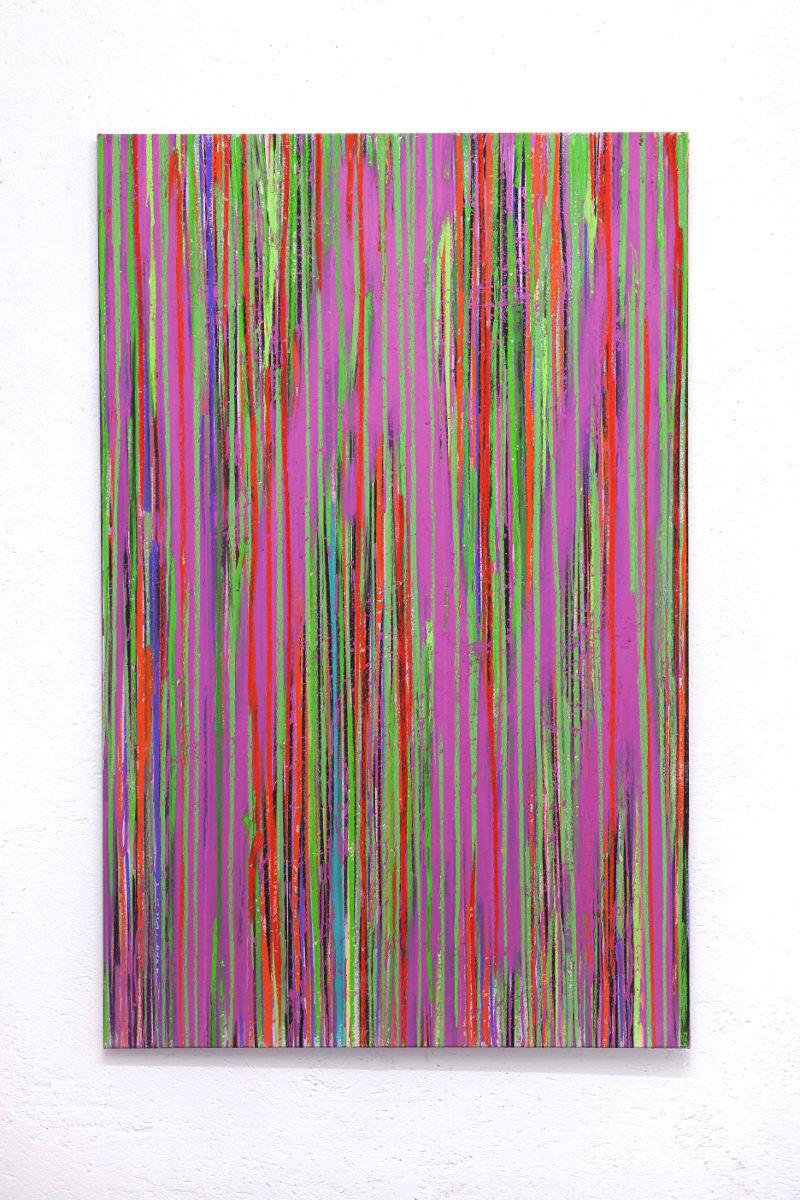 Luca Macauda, untitled, pastello morbido e acrilico spry su tela, 140x100cm, 2016-